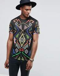 Jaded London T Shirt With All Over Kaleidoscope Print Black