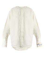 J.W.Anderson Shark Embroidered Linen Shirt Ivory