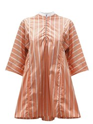 Thierry Colson Rachel Striped Cotton Kaftan Brown