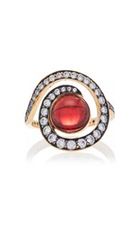 Noor Fares Planet Spiral Ring In Yellow Gold With Garnet And Diamonds Red