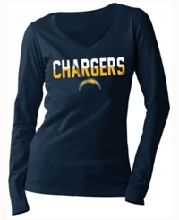 5Th And Ocean Women's San Diego Chargers Huddle Le Long Sleeve T Shirt Navy