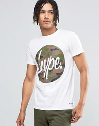 Hype T Shirt With Camo Script Logo White