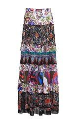 Roberto Cavalli Enchanted Garden Tiered Long Skirt Floral