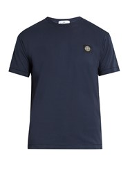 Stone Island Logo Patch Cotton Jersey T Shirt Blue