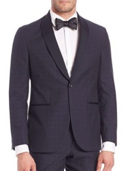 Saks Fifth Avenue Wool Blend Tuxedo Jacket Navy