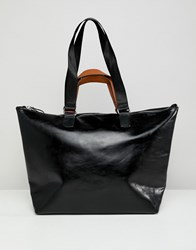 Stradivarius Contrast Handle Shopper Black