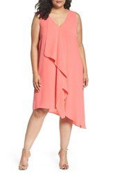 Adrianna Papell Plus Size Women's Sleeveless Asymmetrical Front Drape Crepe Shift Dress Grapefruit