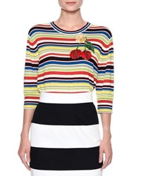 Dolce And Gabbana Cherry Embroidered Striped Top Multi Multi Pattern