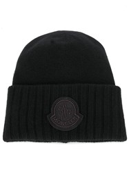 Moncler Ribbed Logo Patch Beanie Black