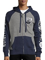 True Religion Colorblock Cotton Blend Hoodie Heather Grey