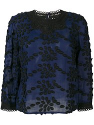 Vanessa Bruno Floral Embroidery Blouse Blue