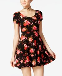 Planet Gold Juniors' Printed Double Scoop Skater Dress Black Floral