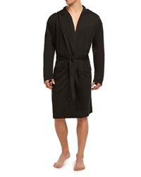 2Xist Terry Fitted Slim Fit Hooded Robe Black