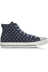 Converse Polka Dot Suede Sneakers Storm Blue