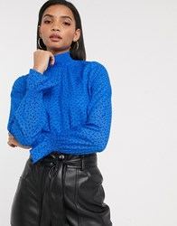 Vero Moda High Neck Blouse With Shirred Cuffs In Blue Ditsy Floral Multi