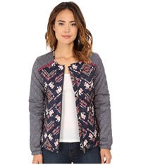 Roxy Coastal Desert Quilted Jacket Boho Ikat Paisley Combo Women's Coat Brown