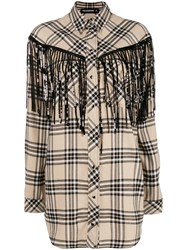 Filles A Papa Fringed Checked Shirt Nude And Neutrals