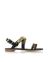 Moschino Black Leather Flat Sandal W Golden Buckles