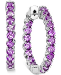 Macy's Amethyst Inside Out Hoop Earrings 4 Ct. T.W. In Sterling Silver
