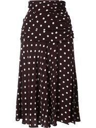 Veronica Beard Polka Dots A Line Skirt Black