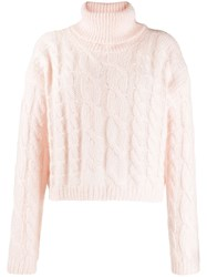 Twin Set Cable Knit Polo Jumper Pink