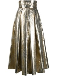 Sara Battaglia Metallic Leaf Print High Waisted Skirt 60
