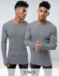 Asos 2 Pack Ribbed Jumper In Black And White Twist Save Grey
