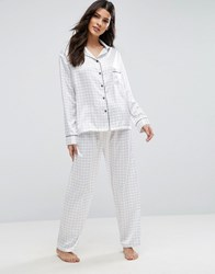 Bluebella Knox Check Pyjama Set Ivory White
