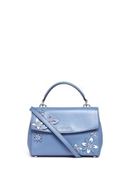 Michael Kors 'Ava' Small Floral Embellished Leather Satchel Blue