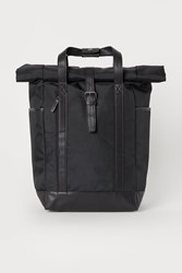 Handm H M Backpack With Roll Top Opening Black