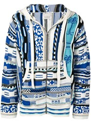 Laneus Abstract Knit Hoodie Blue