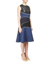 Cedric Charlier Leather Dress With Contrast Panels Black Blue