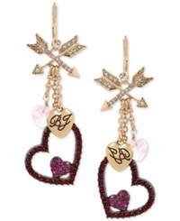 Betsey Johnson Two Tone Crystal Heart Dangle Drop Earrings Two Tone