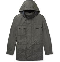 Brioni Shell Hooded Field Jacket With Detachable Quilted Gilet Green
