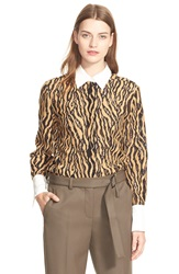 3.1 Phillip Lim Tiger Stripe Lace Shirt Camel Black