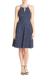 Women's London Times Embellished Floral Jacquard Fit And Flare Dress