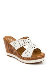 Godiva Laser Cut Wedge Sandal White