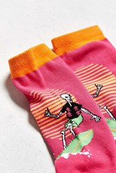 Urban Outfitters Surf Skeleton Crew Sock Pink