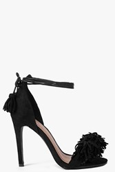 Boohoo Fringe Trim Two Part Heels Black