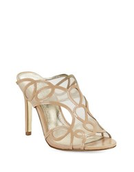 Adrianna Papell Glam Mesh Accented Open Toe Mules Nude