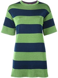 M Missoni Striped T Shirt Dress Green