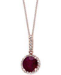 Effy Collection Rosa By Effy Ruby 1 5 8 Ct. T.W. And Diamond 1 8 Ct. T.W. Pendant Necklace In 14K Rose Gold