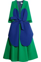 Delpozo Two Tone Cotton Crepe Dress Green