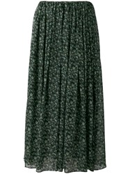 08Sircus Floral Print Maxi Skirt Women Cotton Cupro 2 Green