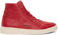 Diesel Red Croc Embossed S Groove High Top Sneakers
