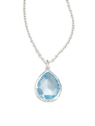 Ippolita Rock Candy Blue Topaz And Sterling Silver Mini Teadrop Pendant Necklace Light Blue Silver