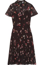 Red Valentino Redvalentino Embellished Floral Print Chiffon Dress Black