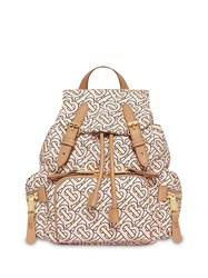 Burberry The Small Rucksack In Monogram Print Nylon Neutrals