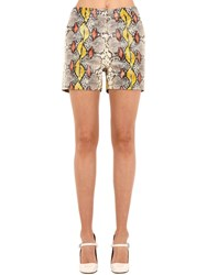 Rochas Snake Printed Leather Shorts Multicolor