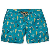 Thorsun Titan Slim Fit Mid Length Printed Swim Shorts Blue